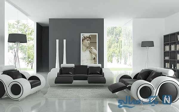 طراحی دکوراسیون سیاه و سفید برای خانه های مدرن