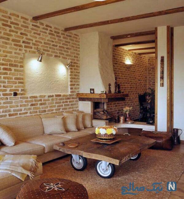 استفاده از آجر در طراحی دکوراسیون داخلی اتاق نشیمن