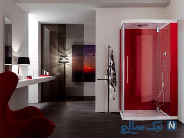 دکوراسیون سرویس بهداشتی رنگ قرمز