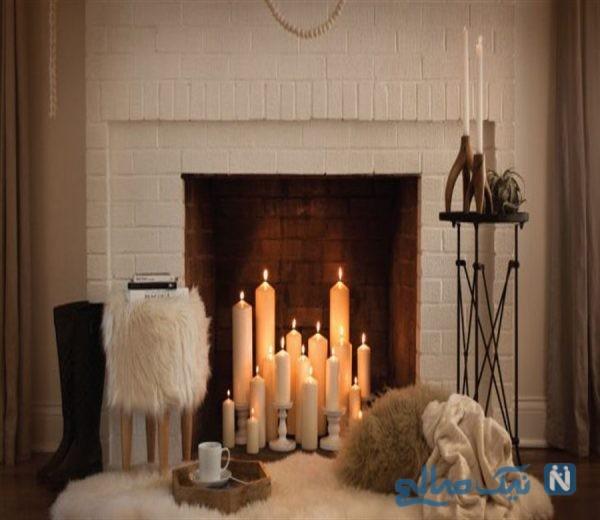شمع در شومینه