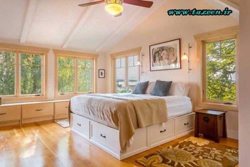 بزرگتر نشان دادن اتاق خواب کوچک