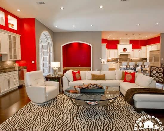 دکوراسیون اتاق پذیرایی قرمز رنگ بسیار زیبا + تصاویر