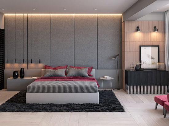 دکوراسیون اتاق خواب خاکستری را این نورپردازی خیره کننده کنید+تصاویر