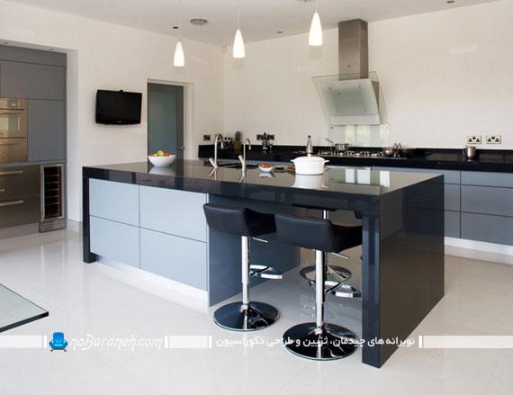 فضای جالبی که کابینت هایی با رنگها متضاد در آشپزخانه ایجاد می کنند+تصاویر