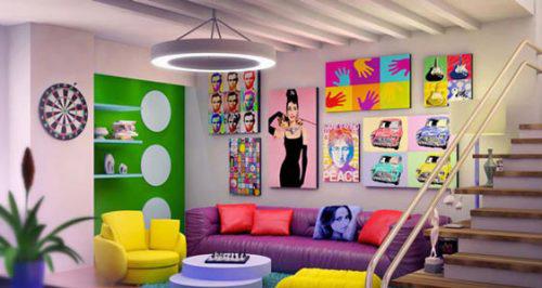 اتاق نشیمنی با رنگهای شاد +تصاویر