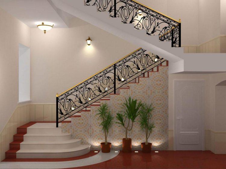 نرده راه پله با طرح های استیل و چوبی
