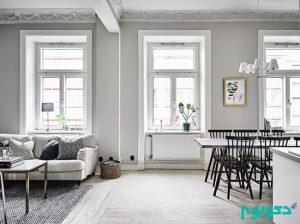 دکوراسیونی با رنگ های سفید و خاکستری