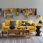 اتاق نشیمنی با رنگهای زرد و طوسی +تصاویر