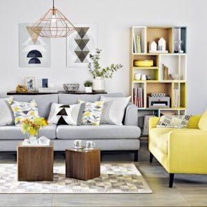اتاق نشیمنی با رنگهای زرد و طوسی