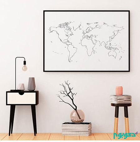 نقشه جهان بر روی دیوار منزلتان