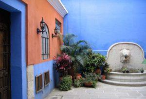 رنگ آمیزی دیوار حیاط در تابستان
