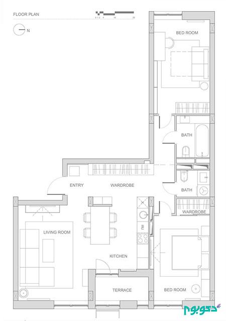 دکوراسیون خانه ای دو خوابه و L شکل