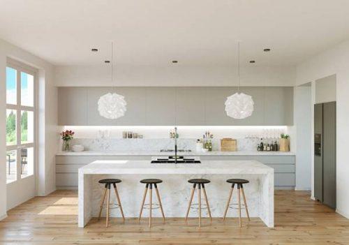 دکوراسیون آشپزخانه با تم سفید