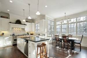دکوراسیون آشپزخانه مدرن با کابینت سفید