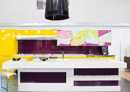 کابینت آشپزخانه به رنگ بنفش