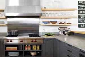 طراحی دکوراسیون مدرن آشپزخانه با قفسه های اپن