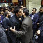 فرزاد فرزین خواننده پاپ معروف در ختم پدر وحید حقانیان