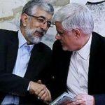 حداد عادل و محمدرضا عارف با چشم عمل کرده در بیمارستان