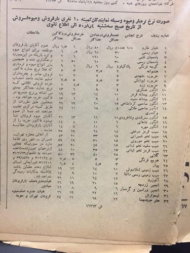 قیمت انواع میوه پس از نیم قرن