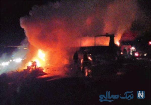 شعله ور شدن خودرو ۴۰۵ به دلیل تصادف در اتوبان تهران قم