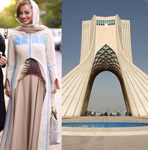 لباس نفیسه روشن شبیه به برج آزادی در جشن حافظ!+عکس