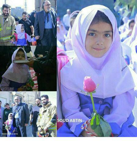 دختر بیت الله عباسپور اولین روز مدرسه اش با چه کسی همراه شد+تصاویر
