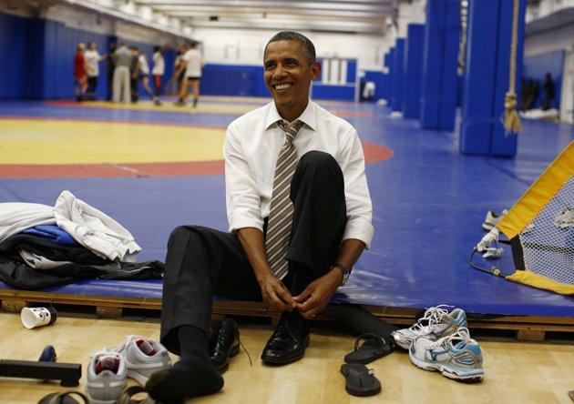 عکس/اوباما روی تشک کشتی