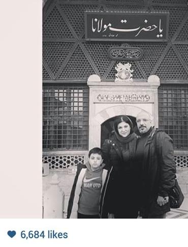 امیر جعفری و خانواده اش در کنار مقبره مولانا+عکس