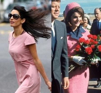 تقلید عجیب همسر جورج کلونی از لباس های همسر رئیس جمهور سابق آمریکا+تصاویر