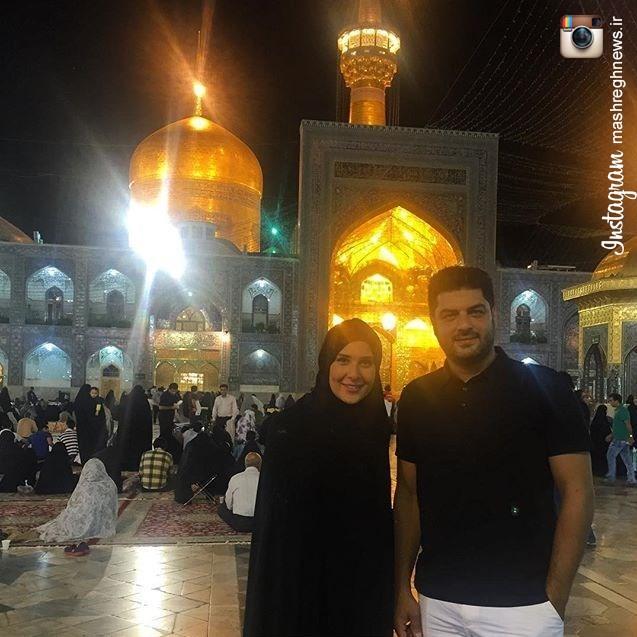 سام درخشانی و همسرش در حرم امام رضا(ع)!+عکس
