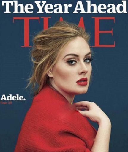 ادل خواننده مشهور روی مجله تایم رفت+عکس