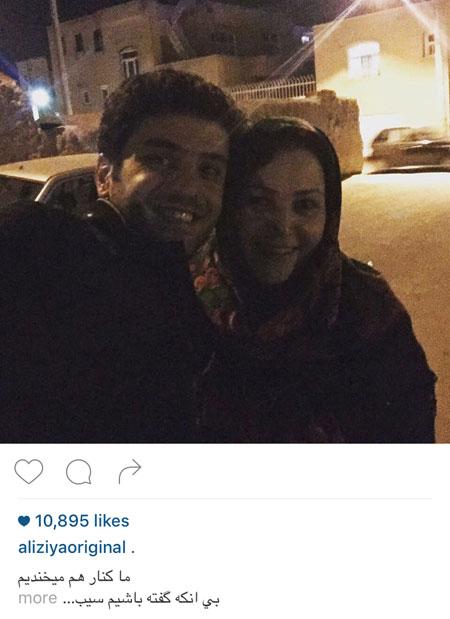 سلفی های علی ضیا با مادرش و بازیگر مرد!+تصاویر