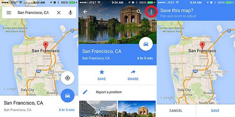 استفاده از نقشههای آفلاین Google Maps