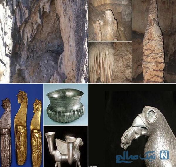 کاسه نقره طلاکوب یکی از اشیای کشف شده از این غار است