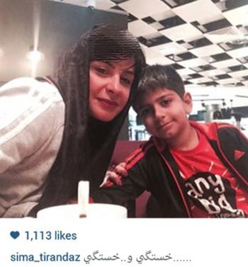 سیما تیرانداز بازیگر زن و پسرش+عکس