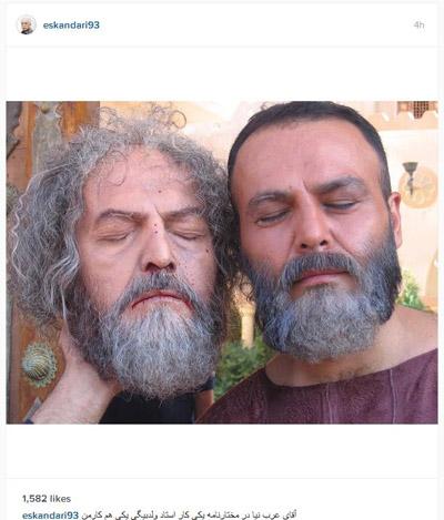 «فریبرز عرب نیا» در کنار سر بریده «مختار»!+عکس