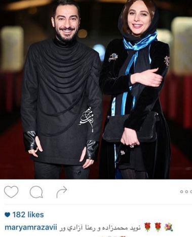 تیپ عجیب نیکی مظفری و نوید محمدزاده در مراسم جشنواره فیلم فجر+تصاویر