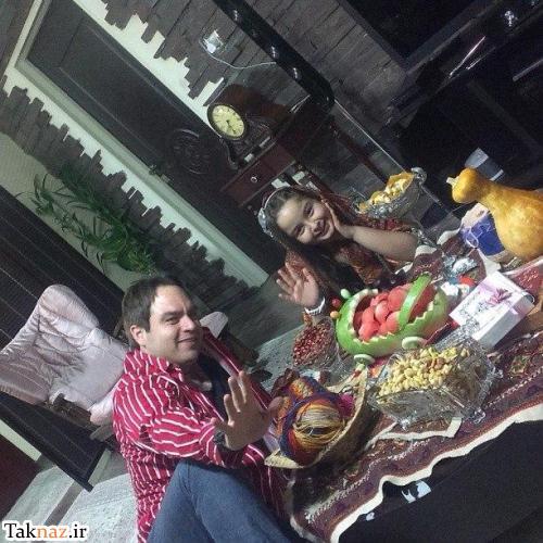 تصویر: شهرام قائدی با دخترش در شب یلدا