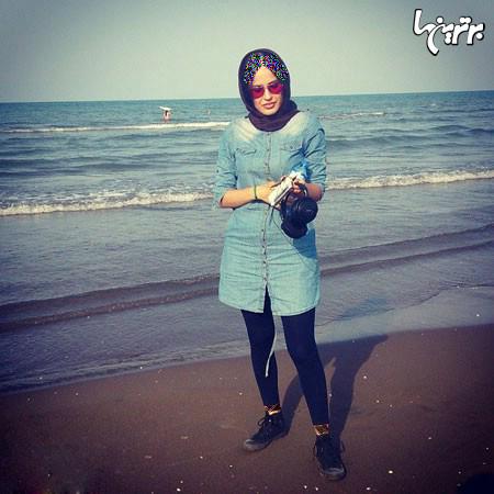 شیوا طاهری بازیگر «گذر از رنج ها» در ساحل خلیج فارس+عکس