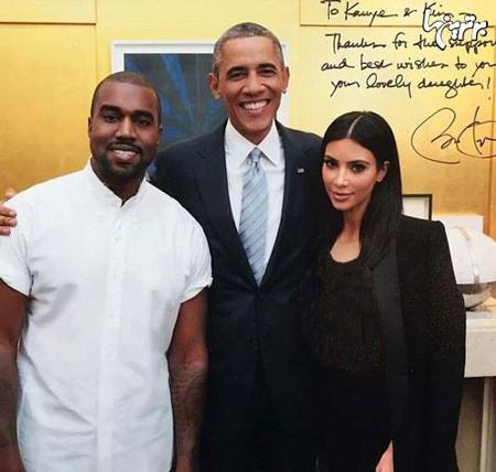 «کیم کارداشیان» و «کانی وست» کنار اوباما +عکس