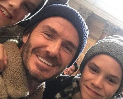 دیوید بکهام و خانوادهاش در حال تفریح زمستانی و اسکی کردن!+تصاویر