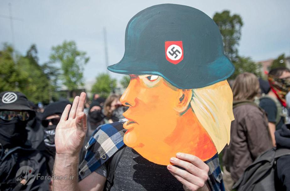 دونالد ترامپ رییس جمهور آمریکا و درگیری میان مخالفان و طرفداران اش+تصاویر