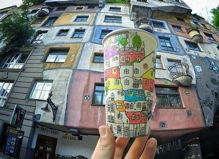نقاشی برروی لیوان های کاغذی