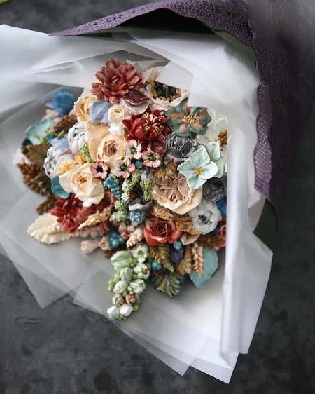 تزئین کیک بصورت دسته گل