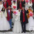 ازدواج دسته جمعی چینی ها در سرما و در جشنواره یخ!