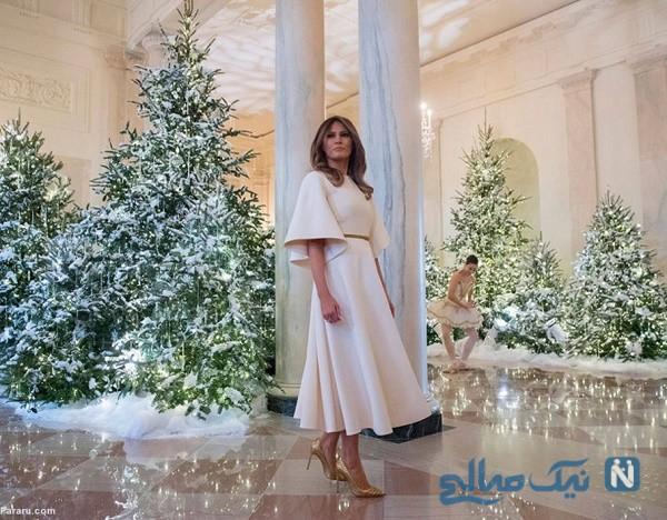 ملانیا ترامپ از تزئینات کریسمس کاخ سفید به شکل زیبایی رونمایی کرد
