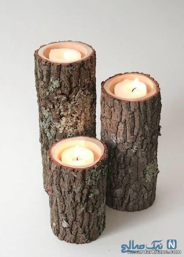 جای شمع چوبی