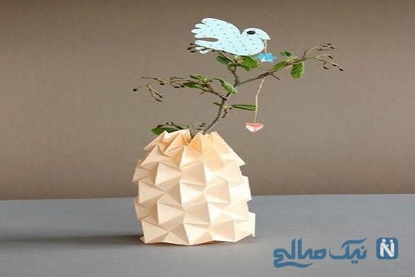 ساخت کاردستی گلدان کاغذی با هنر اوریگامی + تصاویر