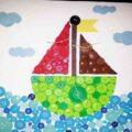کاردستی با دکمه های رنگی طرح بالون و دریا