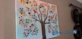 ساخت کاردستی درخت دکمه روی بوم